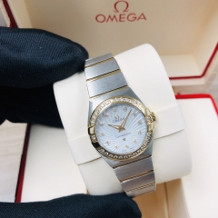 OMEGA Constellation Steel-Yellow Gold 24MM White Mother of Pearl Dial Quartz 123.25.24.60.55.004