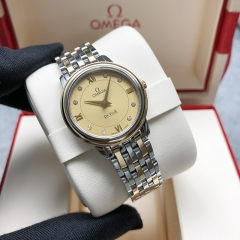 OMEGA De Ville Steel-Yellow Gold 27MM Champagne Dial Quartz 424.20.27.60.58.001