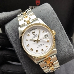TUDOR  Prince Date Day Steel-Yellow Gold 36MM White Dial Automatic M76213-0014